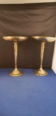 """Pair of Vintage Weighted STERLING SILVER PEDESTAL COMPOTE 467g 6 1/2""""H"""