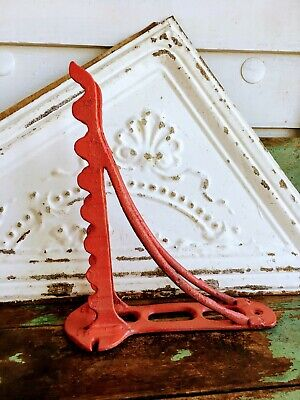 Antique Cast Iron Bridle Harness Tack Hook Industrial Hardware Old Red Paint