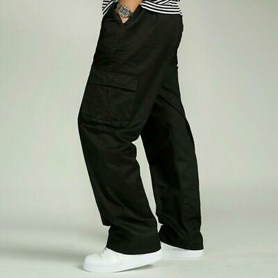 Plus Size Men's Cotton Casual Trousers Loose Fit Pockets Cargo Work Summer Pants