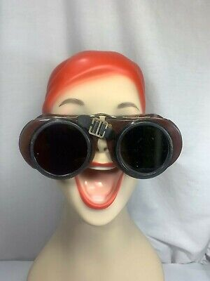 Vintage Norton Welding Safety Goggle Glasses Clear & Black Lens Steampunk Brown