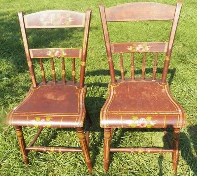 Set 2 Antique Plank seat decorated Chairs 1/2 spindle backs brown with Flowers