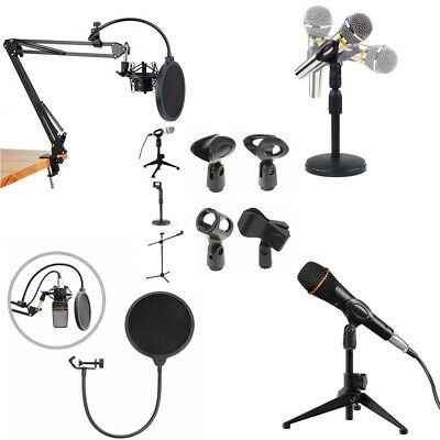 Foldable Microphone Arm Stand Mic Clip Tripod Desktop Mic Holder Pop Filter EW