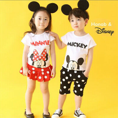 Baby Boys Girls Summer Cartoon Minnie/Mickey Clothing 2pc Child Casual Outfits