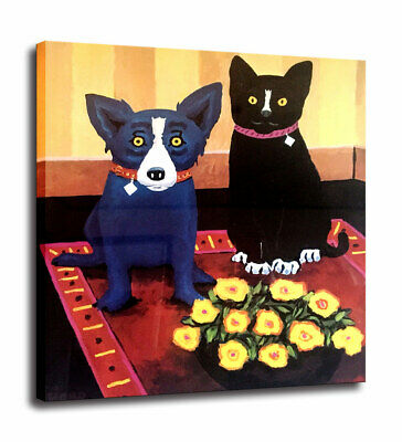 HD Print Cartoon Blue Dog & Black Cat Art Decorative Painting on Canvas 24x26