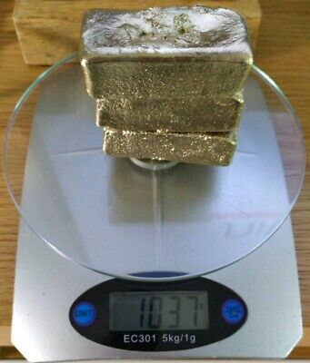 1037g Scrap gold 3 BIG bar for Gold Recovery melted different computer pins NEW