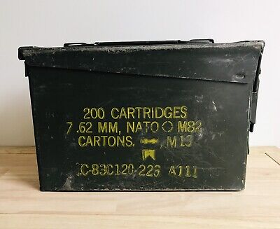 U.S. Military Ammo Metal Box 200 Cartridges 7.62mm, NATO M82 Cartons M13 Empty