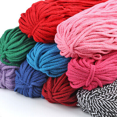 100 yards Braided Macrame Cord Cotton Rope 5mm String Line Trims Craft Supplies