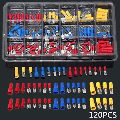 120 X Assorted Terminal Crimp Iisolated Car Electrical Wire Connector Shovel Set