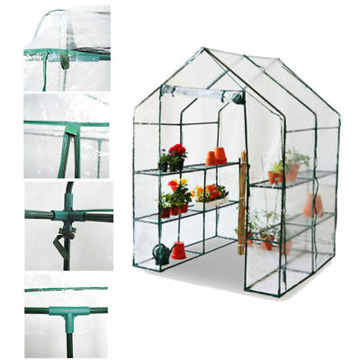 Extra Large Walk In Greenhouse With Shelving Pvc Cover Outdoor Garden Plastic Uk