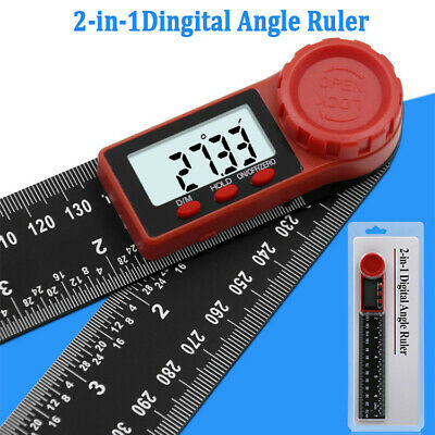 "2in1 Digital Protractor Angle Finder Ruler Crown Trim Woodworking 7"" 200mm BE"