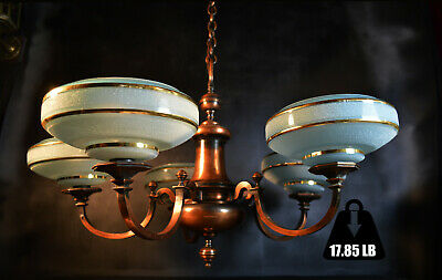 Vintage 1930s French 5 arm LG bronze chandelier deco handmade gilt glass shades
