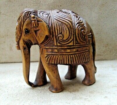 RARE Old Ethnic Vintage Wooden Handcrafted Elephant Statue Home Decor 04