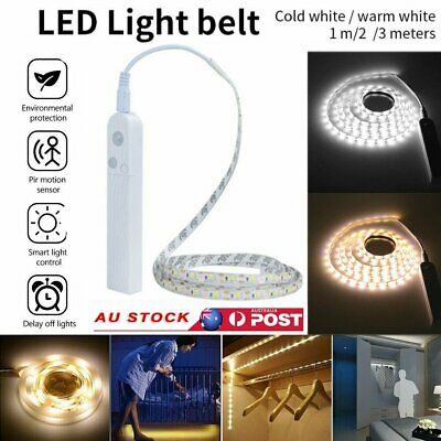 1M/2M/3M PIR Motion Sensor Activated LED Light Strip Wardrobe Battery Operated