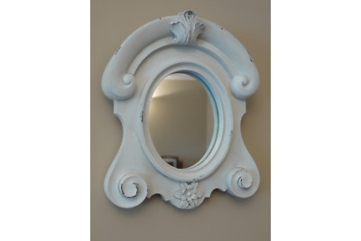 Mirror Oval Ornate White Shabby Chic Wall Mounted Baroque Floral Decoration New