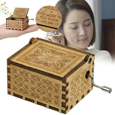 Mom To Daughter Wooden Classical Music Box Hand Crank Music Box Present Gift US