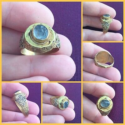 RARE ANCIENT SOLID GOLD ROMAN RING c 1st /3rd Cent AD. With Smokey Q intaglio