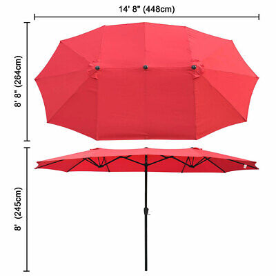 4.5M Double-sided 12 Ribs Patio Parasol Umbrella Wider Canopy Shade Shelter Pink