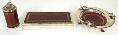 Set Of Cigarette, Ashtray And Lighter. Silver And Metal Enamelled. Circa 1960
