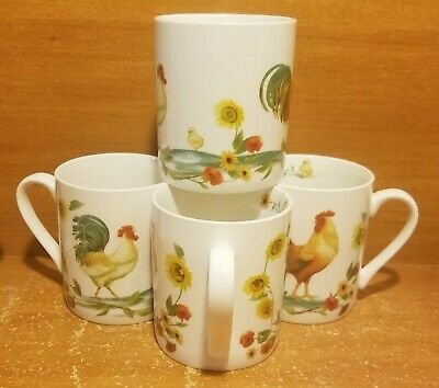 """Pfaltzgraff ROOSTER MEADOW Mug set of 4, 3 3/4"""", Sunflowers, Daphne B, Excellent"""