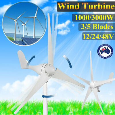 Wind Turbine Generator 3/5 Blades High Power 12/24/48V With Charger Controller