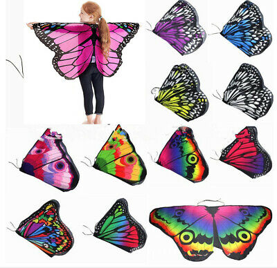 Girl Fairy Butterfly Wings Costume Princess Shawl Cape Cloak Kids Dance Props