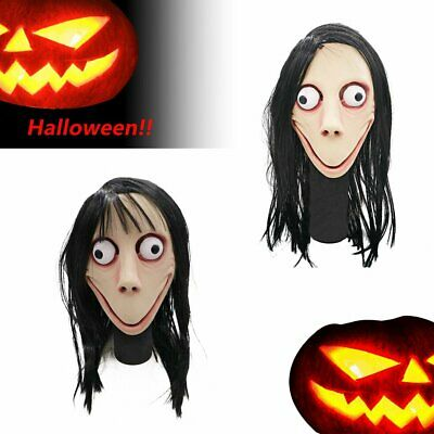 Scary Momo Games Latex Mask Long Hair Adult Halloween Costume Party Props Y1