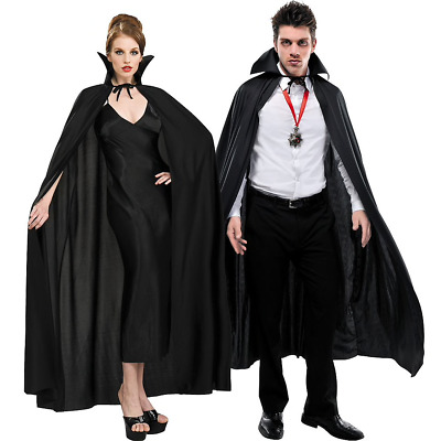 Adult Full Length Plain Black Cape with Collar Costume Accessories
