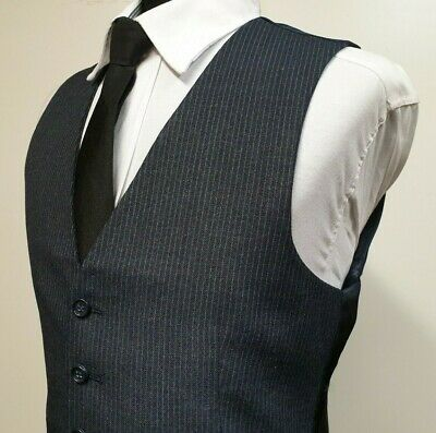 C286 Mens Blue Grey Pinstriped Wool Business Formal Smart Waistcoat S 36""