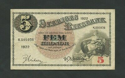 SWEDEN  5 kronor  1922  P33e  About VF  Banknotes