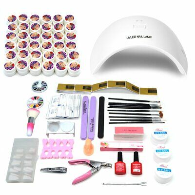 Gel Polish Kit Nail Set Manicure UV LED Lamp Prep Wipe Remover Top Base Coat