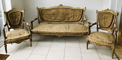 Lovely Antique French Louis Xvi Giltwood Suite, Sofa & Pair Armchairs