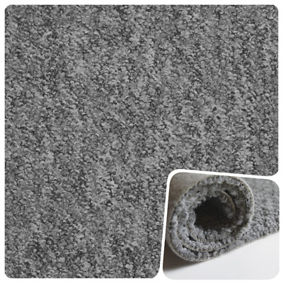 HARDWEARING Light Grey Berber Loop Pile Felt Back 4m Wide Carpet £4.99m²