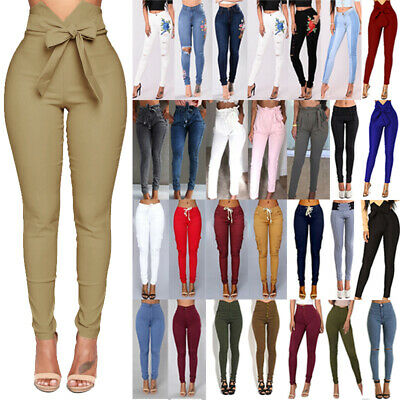 Womens High Waisted Jeans Jeggings Trousers Stretchy Ripped Skinny Long Pants UK