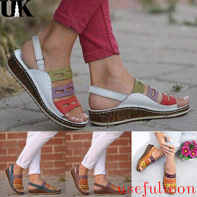 Womens Ladies Chunky Sole Gladiator Summer Wedges Heel Sandals Shoes Uk Size 4-7