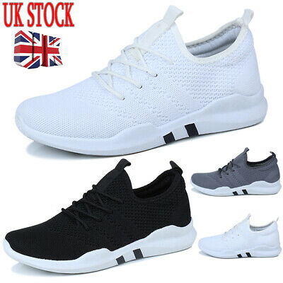 UK Mens Running Sports Casual Pumps Trainers Lace Up Shoes Breathable SZ 3-11.5