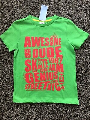 BNWTS Boys Green T Shirt Age 6-7 Years Old Florence And Fred Green