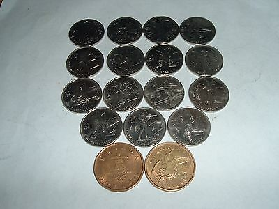 Canada  2010 Winter Games Full Set Complete 17 Coins  2 X Loonies 15 X 25 Cent