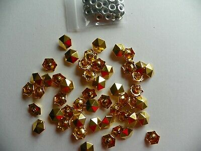 50 x 6 SIDED DOME POINT CONCHOS 13x4mm GOLD COLOURED