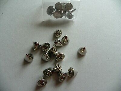 15 x SILVER CONE SHAPED STUDS 8X8mm