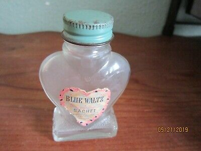 "BLUE WALTZ dry Perfume Sachet Vintage Antique 3 1/2"" Bottle NY empty"