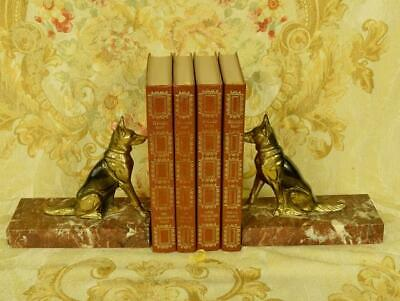 Superb Pair Antique French Alsation Dog / German Shepherd Marble Bookends C 1930