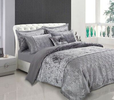 Crushed Velvet Throw Luxury Duvet Cover Double King Size Quilt with 2 Pillowcase