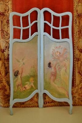 Sublime Antique French Folding Screen, Hand Painted Cherub Panels, Oil On Canvas
