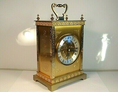 Avia Vintage Quartz Brass Carriage Clock Made In West Germany RUNS SLIGHTLY SLOW