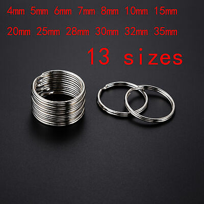 Wholesale 4~35mm Key Rings Chains Split Ring Hoop Metal Loop Accessory Keyring