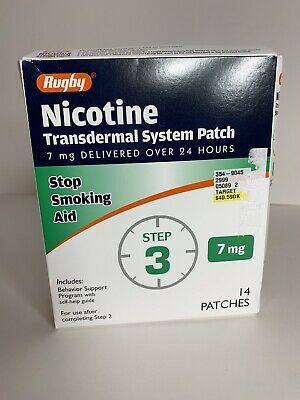 Rugby Nicotine Stop Smoking Aid Transdermal Patch Step 3 7mg 14 Patches