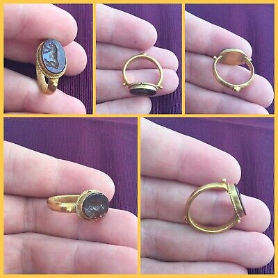 Rare ancient Roman Eastern carnelian Solid gold seal ring  2nd to 4th Century AD