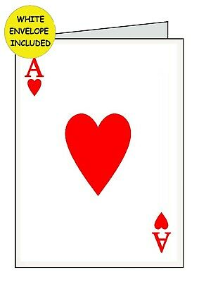 ACE OF HEARTS Personalised INSIDE Handmade OPEN Card........ANNIVERSARY BIRTHDAY