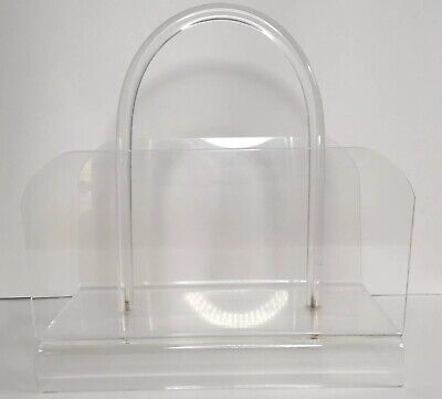 Mid Century Modern Clear Lucite Acrylic Magazine Rack Stand Holder Retro Ghost