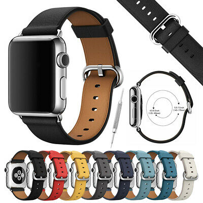 Leather Band Strap w/ Buckle for Apple Watch Series 4 3 2 1 38mm 40mm 42mm 44mm